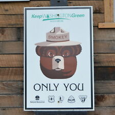 Smokey The Bear Forest Service Sign Keep Washington Green  Highway sign REAL