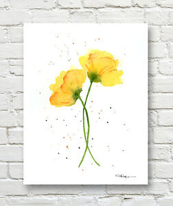 Yellow Poppies Art Print Contemporary Watercolor by Artist DJR