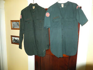 Vintage green Explorer Scout shirts 1950s  anchor & wings patch