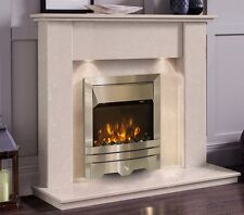 CREAM MARBLE STONE SURROUND SILVER 2KW ELECTRIC FIRE FIREPLACE SUITE SPOTLIGHTS