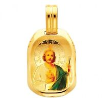 San Judas Tadeo Medal 14K Yellow Gold St. Jude Picture Charm Religious Pendant