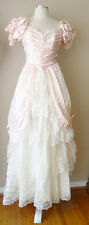 VINTAGE ILGWU PEARL LACE CORSET FULL LINED GOWN DRESS PAGEANT PROM QUEEN WEDDING