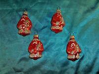 4 alte Christbaumkugeln Glas Weihnachtsmann helles rot Goldglitzer Nikolaus CBS