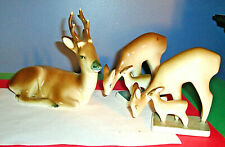 (3) Zsolnay Hand Painted Porcelain WILD DEER FIGURINES SET, Hungary, Exc.