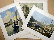 Lot 8 gravures couleur HUIT PORTS DE FRANCE Fin 19e Dieppe Granville... GILLOT