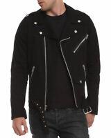 Mens Biker Jacket Black Motorcycle Goth Punk Moto 100% Cotton
