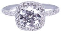 14K White Gold Round Forever One Moissanite and Diamond Engagement Ring 2.15ctw