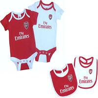 ARSENAL FC 2016 OFFICIAL BABIES BODY PRAM SUIT SHORT SLEEVE BABY GROW VEST x2