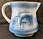 Vintage Blue & White Ceramic / Ironstone Milk Cow Pitcher Old Country Farm House