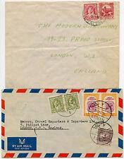 Jordan + jordanie 1951 enveloppes airmail 60M + surface 5M