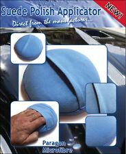 Car Polish Wax Applicator with Finger Pocket - Suede - Blue x5 - 100% Microfibre