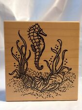 Me & Carrie Lou Seahorse Under Ocean Seashells Seagrass sea Plants Rubber Stamp