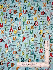 Animal Alphabet Animals Names on Aqua Cotton Fabric Windham Animal ABCs - Yard