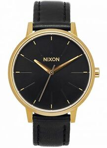 NEW Nixon Damenuhr A108-513 Kensington Leather Gold Black Uhr Vintage-Look