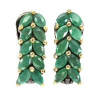 Unheated Marquise Green Emerald 4x2mm Natural 925 Sterling Silver Earrings
