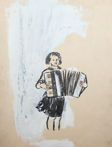 Vintage ink drawing portrait girl accordion player