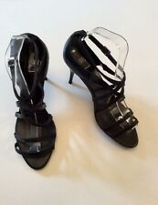 FAITH BLACK LEATHER STRAPPY HEEL SANDALS SIZE 6/39
