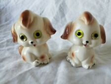 Vintage Ceramic Adorable White-Brown Bug Eyed Puppies Salt and Pepper Shakers