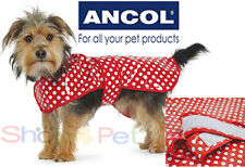 Dog Rain Coat RED + White Polka Dots Ancol Large 46-56cm Extra Large 56-66cm PET