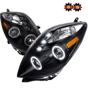 For 06-08 Toyota Yaris Headlights Matted Black Projector LED Halo TRD Base
