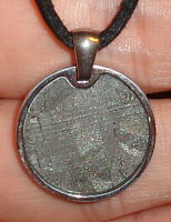 Genuine Meteorite Necklace! Sliced Seymchan Meteorite in Stainless Pendant!