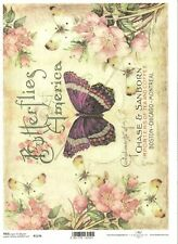 Rice Paper for Decoupage Scrapbooking Vintage Butterflies Roses A4 ITD R1176