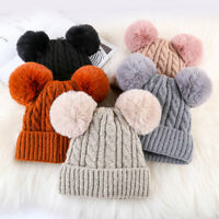CO_ Cute Women Crochet Knitted Hat Dual Pompom Ball Winter Warm Cap Beanie Eyefu