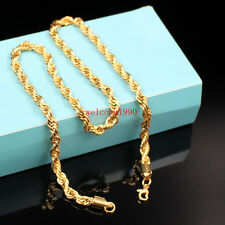 Huge 6mm 24'' Stainless steel Gold Singapore twisted chain Necklace Mens Jewlery