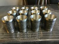 12Vintage REIN ZINN German Pewter Drinking Cup OLD WORLD FOLK GENRE SCENES Stein