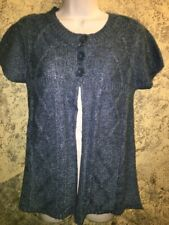 3 button open front cardigan sweater short sleeve junior M blue acrylic career