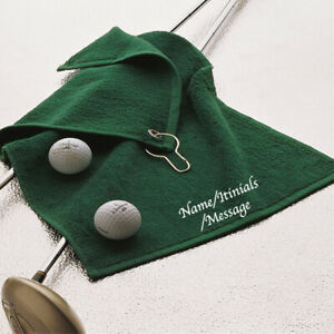 Personalised Green Golf Towel Embroidered Name Initials Message Gift