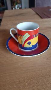 bunte Espressotasse+Unterteller,Flirt Tasse,Porzellan,s.g.erhalten