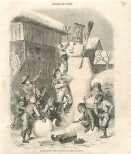 Bonhomme de Neige à Brienz canton de Berne Interlaken-Oberhasli GRAVURE 1850