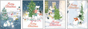 Moomin Blank Christmas Card - Cutting, Carrying, Decorating the Tree or Feast