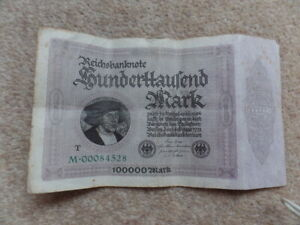 Rare  Old Colection  1oo.ooo Marks German Banknote  1923, Good Gift.