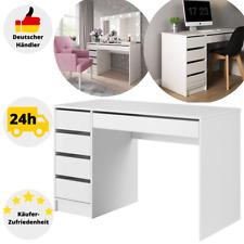 Schreibtisch Weiß Computertisch Hochglanz mit Schubladen Bürotisch 120cm Tisch
