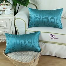 2Pcs Teal Pillow Cover Cases for Couch Sofa Home Decor Vintage Floral 12 X 20