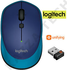Logitech M335 BLUE Wireless Laser Optical Compact Mouse Unifying PC Laptop MAC