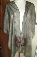 TAUPE GREY MUTED FLORAL CHIFFON WRAP, 200cm x 46 cm, SCARF,BROWN,GREY, NEW, Aust