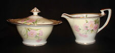 Vintage Noritake Mystery #1 Pink Carnations Cream Rim Amherst Creamer & Sugar