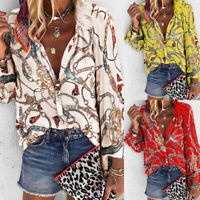 Womens V Neck Chain Print Button Shirt Lady Long Sleeve Casual Blouse Loose Tops