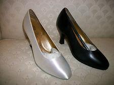 Ballroom Dance Shoes Capezio Court Black Leather or White Satin 5 10 New in Box
