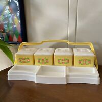 Vintage Cute Plastic Beauty Canisters Set Clarolyte Nursery Floral Pink Yellow