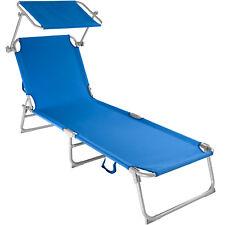 Gartenliege Freizeitliege Sonnenliege Strandliege mit Sonnendach blau