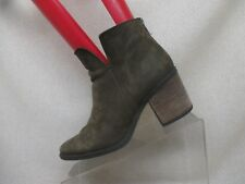 Steve Madden Olive Leather Zip High Heel Ankle Boots Booties Size 8 M