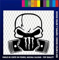 PEGATINA VINILO CALAVERA STICKER SKULL PISTON GAS VINYL CAR TUNING MONSTER