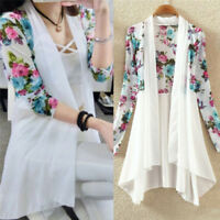 Women Flora Chiffon summer Cardigan Tops Long Sleeve Soft Casual YJ