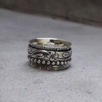 Solid 925 Sterling Silver Spinner Ring Meditation Statement Handmade Ring Sr246