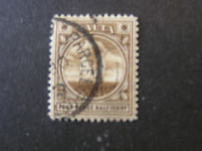 MALTA, SCOTT # 15, 41/2p. VALUE BLACK BROWN 1899 GOZO FISHING BOAT ISSUE USED