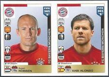 PANINI-2016 FIFA 365- #485-486-BAYERN MUNCHEN/MUNICH-ARJEN ROBBEN-XABI ALONSO